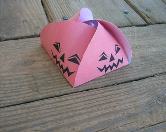 Printable Halloween Gift Box Jack O Lantern Party Favor Orange Box Bon Bon Style - DIY Halloween