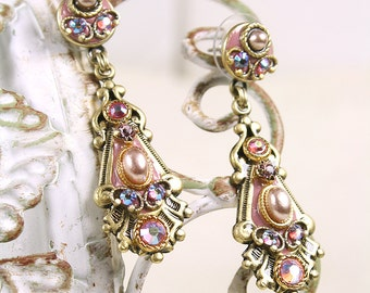 Michal Golan Pink & Pearl Two-Part Dangle Earring