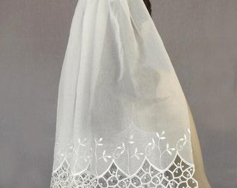 Bridal Tulle Veil, Unusual Veil, Waist Height Veil, White Open-Worked Edge, OOAK, Unique Item, Romantic Wedding