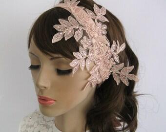 Blush Pink Lace Bridal Headband, Wedding Hair Fascinator, Romantic Hair Piece, Accessory, Beaded Venetian Lace Applique, Powder Pink