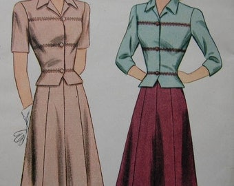 Fabulous Vintage 40's Junior  Misses' TWO-PIECE DRESS Pattern Factory Folded
