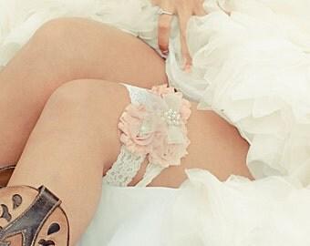 Wedding Garter  Vintage Bridal Garter Wedding Garter Set Toss Garter included Blush or Dusty Rose Ivory with Rhinestones and Pearls  Custom