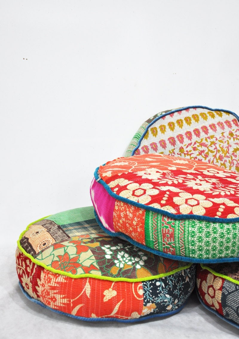 Patchwork floor cushion covers Indian Kantha Quilt fabrics