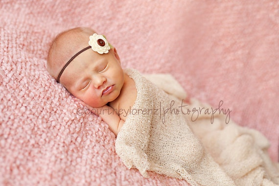 Wool Felt Button Flower Headband or Hair Clip - Brown and Cream - Newborn to Adult