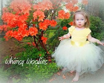 """Easter DRESS PATTERN: Crochet Tutu, Flower Girl Dress, """"Lisa-Lynn Dress"""", Crochet Flower"""
