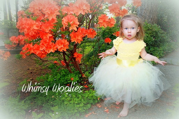 "Crochet Tutu Dress Pattern: Spring Fashion, ""Lisa-Lynn Dress"", Wedding, Flower Girl Dress, Girls party dress"