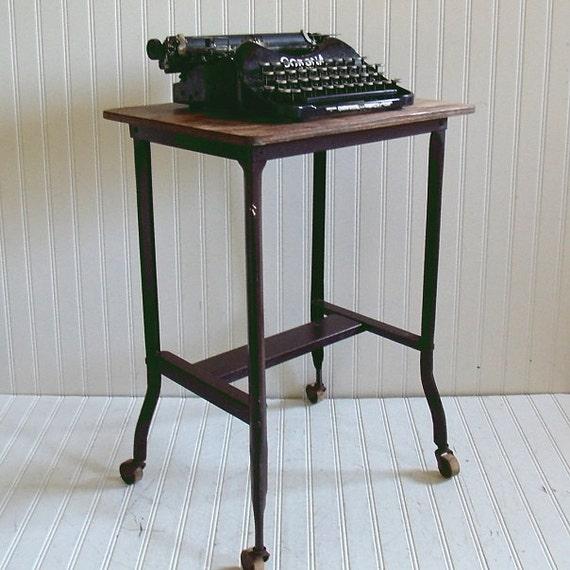 Vintage Brown Metal And Wood Typewriter Stand Antique Office