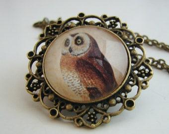 Owl Pendant with Free Matching Necklace