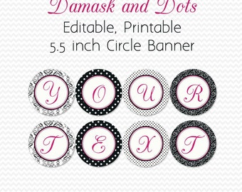 Damask and Dots Bridal Shower Banner, Hot Pink, Birthday Party Supplies,Congratulations, Graduation - Editable, Printable, Instant Download