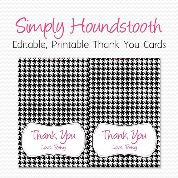 Thank You Cards, Black and White Houndstooth Print, Hot Pink Accent, Thank You Note Card, Personalized -- Editable, Printable, Instant