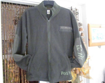 Men's Massive Zippered Patched Sleeves Sports Jacket/Sweater in Dark Olive Green, Vintage - Large