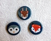 Pinback Button or Magnet Set - Cute Animal pins Fox Deer Owl -  Set of 3