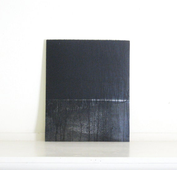 """Etching Print . Landscape Art  . Color Block: Chiral 23 (in Navy Blues) . Print Size 10"""" x 12"""""""