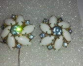 Vintage USA Made Milk Glass And Blue Rhinestone Clip Round Earrings