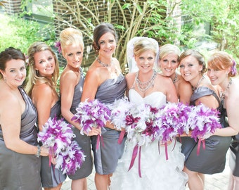 7 Feather Bouquets (Seven or 6 Bridesmaids, and Toss) Custom Colors - Vintage Style Wedding Package Bouquet Feathers Pearl Crystal Pomanders