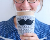Mustache Coffee Cup Cozy, Crochet Coffee Sleeve, Reusable Coffee Cozy made by The Cozy Project