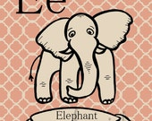 Ee Elephant - Alphabet Print - Your Choice of Background Color - 8x10 Illustrated Print by Mandipidy