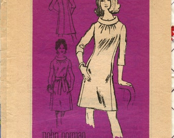 1960s Vintage Sewing Pattern Mail Order Pattern M162 Prominent Designer John Norman Dress Pattern Bust 38