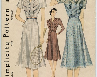 1930s Vintage Sewing Pattern Simplicity 3068 Active Wear Day Dress Flared Skirt Bust 34