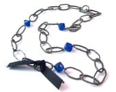 Blue Gunmetal Gray Necklace with black ribbon and toggle clasp