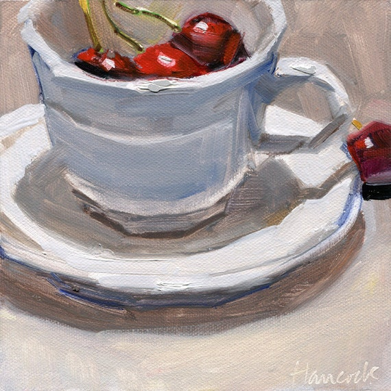 Cup Saucer and Cherries in Top Light