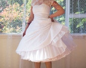 1950s Rockabilly Wedding Dress 'Lacey' with Lace Overlay, Sweetheart Neckline, Tea Length Skirt and Petticoat - Custom made to fit