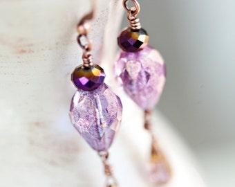 Lavender Drop Earrings, Purple, Drop Earrings, Lavender Earrings, Lavender Purple Earrings, SALE, Lavender, Purple Jewelry, Purple Copper