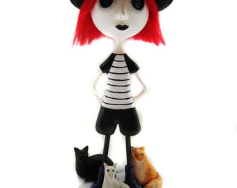 Custom Art Doll - OOAK Art Doll - Paperclay Sculpted - Cats Art Dolls