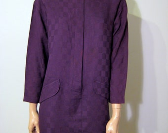 Purple Tunic Dress 1980's Donna Ricco for Saks Fifth Ave Size 4 Petite