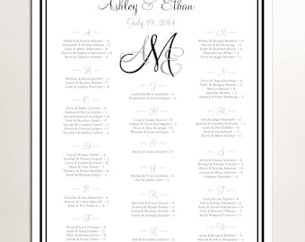 Monogram Seating Chart for Wedding Table Assignments for your Wedding Reception - Printable PDF - monogrammed File