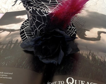 Spider in a Web and Black Rose Mini Top Hat - Hair Accessory, Witch Hat, Wedding Party,Cosplay, Bridesmaids, Christmas gift, photo shoot