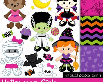 Halloween Girls - Halloween clipart - Clip art and Digital paper set