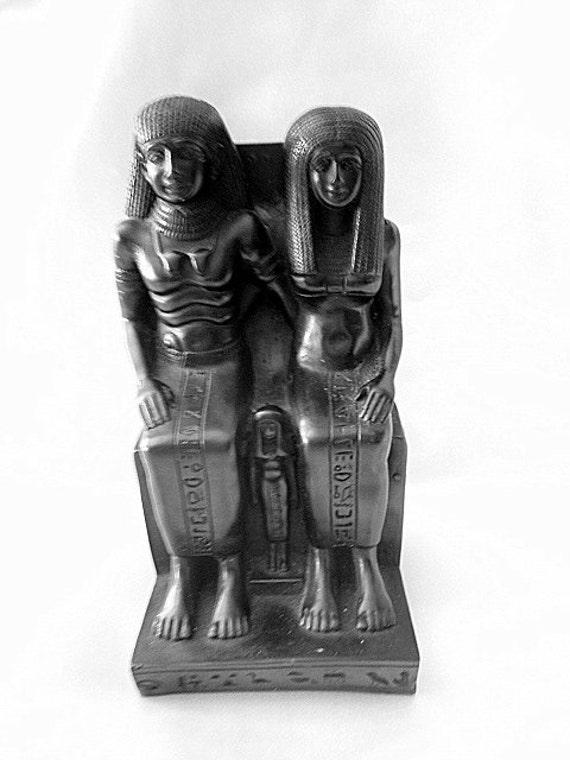 Library Egyptian Statue Black Stone Sculpture Art Pharaoh Queen Revival Architecture Neoclassical Art Deco