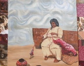 SALE WAS 40 Now ONLY 24 - 40 percent off List Price - Spinning Yarn Original Quilted Painting