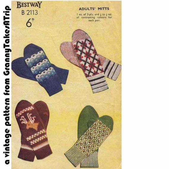 1950s Fairisle Knitted Mitts - Nordic mittens VINTAGE KNITTING PATTERN, Ski/Folk/Boho/Scandi, Instant Pdf from GrannyTakesATrip  0045