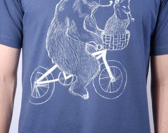 Bear Bicycle & Fox  T-shirt - Bear T-Shirt - Bike T-Shirt