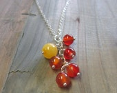 carnelian & yellow jade silver cluster necklace