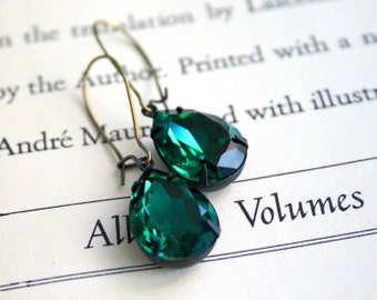 Customizable - Large Pear Emerald Swarovski Crystals, Brass, Silver, Antiqued Brass, Make Your Own Jewelry