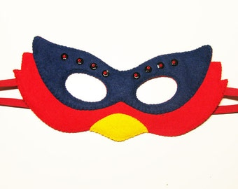 Bird felt mask - Red Blue Yellow - for kids & adults- handmade bird costume for boys girls - soft Dress Up play accessory Theatre roleplay
