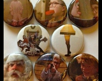 "8 Brand New 1"" ""A Christmas Story"" Button Set"