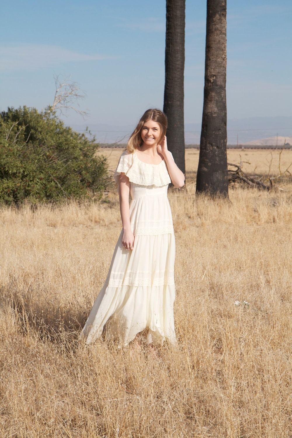 Bohemian lace wedding dresses 1970s hippie by for Boho hippie wedding dresses