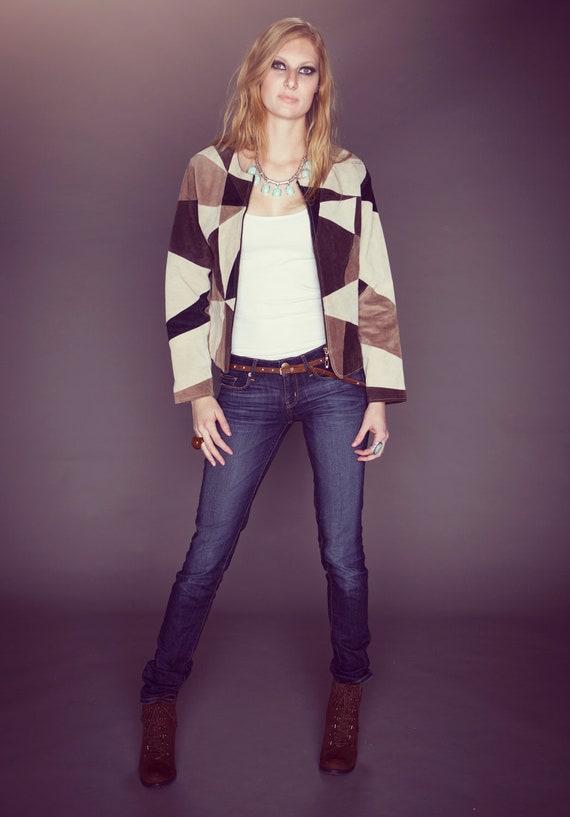 Vintage Patchwork Boho Suede Leather Jacket. Size S/M