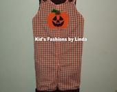 Personalized Jack O' Lantern Orange Gingham Turkey Longalls/Brown Liner