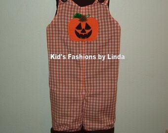 Personalized Jack O' Lantern/Turkey Brown Cotton Orange Gingham Turkey Longalls-Personalization included