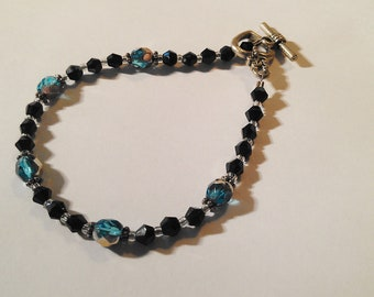 Black and Blue Crystal with Silver Bracelet