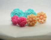 Resin Flower Stud Post Earrings - Blue, Peach and Rose Pink- 3 pair set