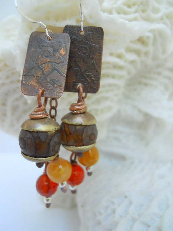 Artisan Handcrafted Etched Copper Mixed Metal Autumn Orange Yellow Earrings