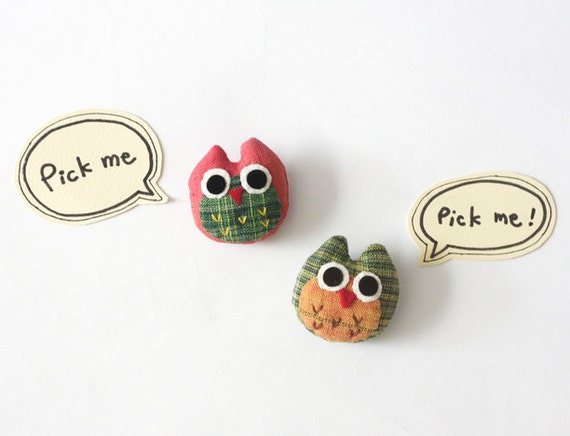Cotton Owl Brooch/Pin, Cute Colorful Owl Pin - Choose one, Red Owl or Green Owl