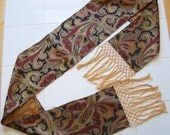 "Piano Runner ""Hayes"" - Orange/Brown/Red Paisley w/ Handmade Gold Knotted Fringe"