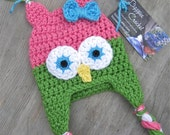 Little Owl Crochet Hat Pattern PDF - Easy, 6 sizes - beanie, earflap - Newborn baby kids toddler- Instant Digital Download